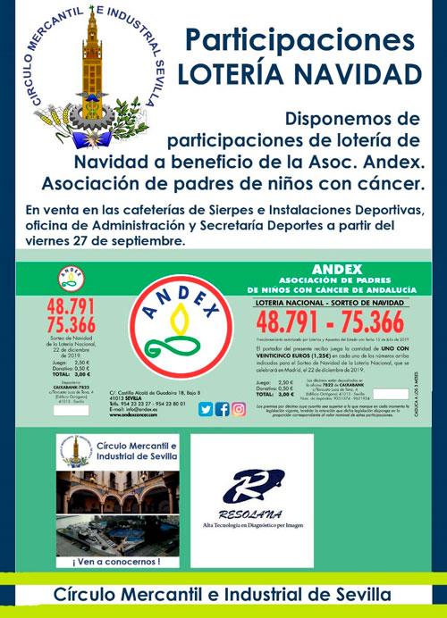 Disponible la lotería solidaria de Navidad 2019 a beneficio de Andex