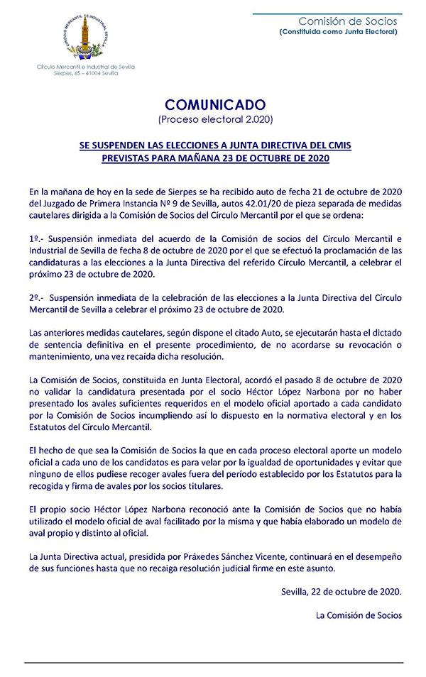 Suspensión de la elecciones a Junta Directiva